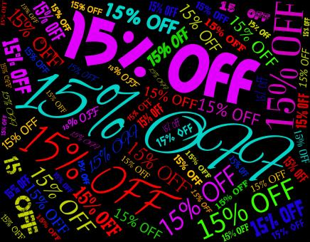 Free Stock Photo of Fifteen Percent Off Represents Closeout Sales And Promo