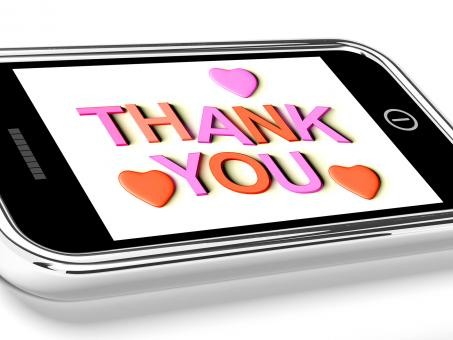 Free Stock Photo of Thank You And Hearts Message As Thanks Received On Mobile
