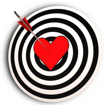 Free Stock Photo of Heart Target Means I Love You Achieved