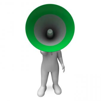 Free Stock Photo of Loud Hailer Character Shows Broadcasting Explaining And Megaphone