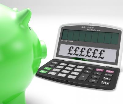 Free Stock Photo of Pounds Calculator Shows UK Interest On Wealth