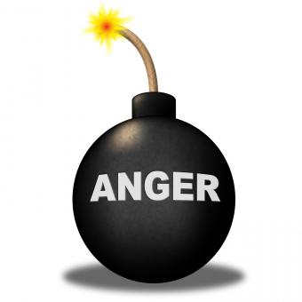 Free Stock Photo of Anger Warning Shows Dangerous Unhappy And Bomb