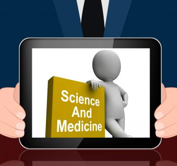 Free Stock Photo of Science And Medicine Book With Character Displays Medical Research
