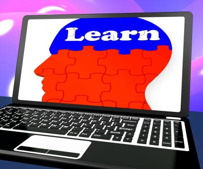 Free Stock Photo of Learn On Brain On Laptop Shows Online Education