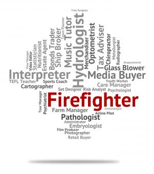 Free Stock Photo of Firefighter Job Represents Career Hire And Words