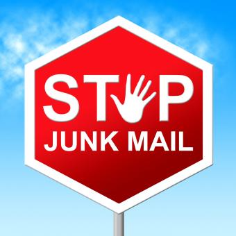 Free Stock Photo of Stop Junk Mail Shows Warning Sign And Danger