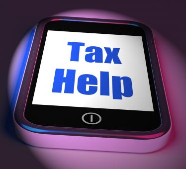 Free Stock Photo of Tax Help On Phone Displays Taxation Advice Online