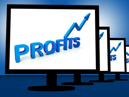 Free Stock Photo of Profits On Monitors Showing Profitable Incomes