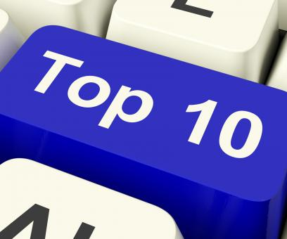 Free Stock Photo of Top Ten Key Showing Best Rated In Charts