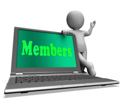 Free Stock Photo of Members Laptop Shows Membership Registration And Web Subscribing
