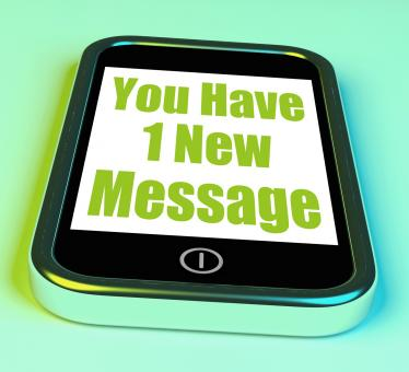 Free Stock Photo of You Have 1 New Message On Phone Means New Mail