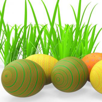 Free Stock Photo of Easter Eggs Shows Green Grass And Grassland