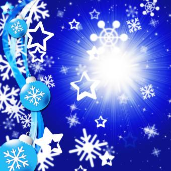 Free Stock Photo of Blue Snowflakes Background Shows Bright Sun And Snowing