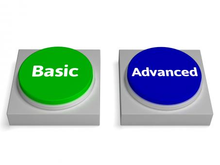 Free Stock Photo of Basic Advanced Buttons Shows Version Or Features