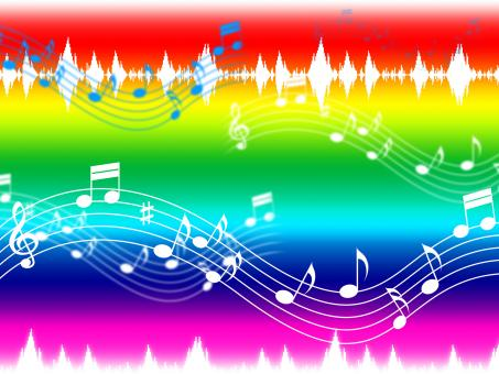 Free Stock Photo of Rainbow Music Background Shows Musical Piece And Instruments