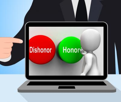 Free Stock Photo of Dishonor Honor Buttons Displays Integrity And Morals