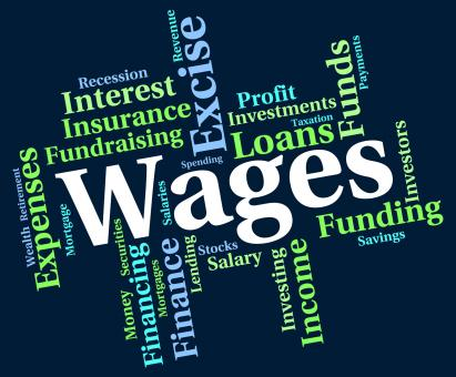 Free Stock Photo of Wages Word Indicates Income Earn And Wordcloud