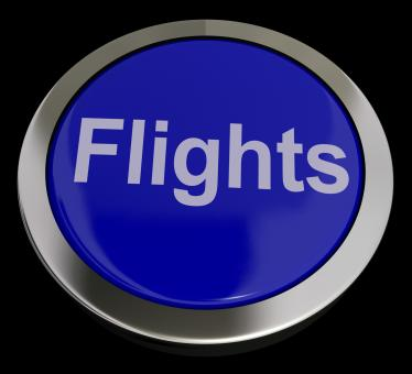 Free Stock Photo of Flights Button In Blue For Overseas Vacation Or Holiday