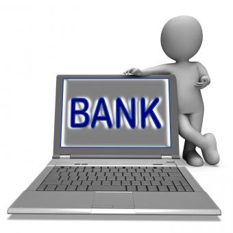 Free Stock Photo of Bank On Laptop Shows Internet Or Electronic Banking Online