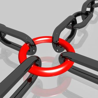Free Stock Photo of Red Link Chain Shows Teamwork, Connected