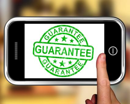 Free Stock Photo of Guarantee On Smartphone Showing Satisfaction Guarantee