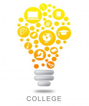 Free Stock Photo of College Lightbulb Shows Power Source And Bright