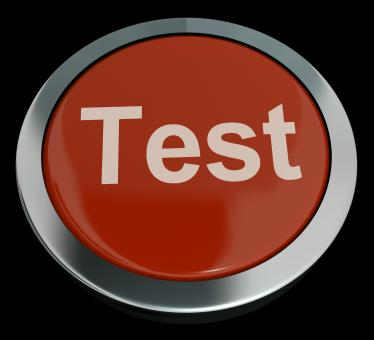 Free Stock Photo of Test Button In Red Showing Quiz Or Online Questionnaire