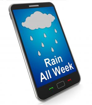 Free Stock Photo of Rain All Week On Mobile Shows Wet Miserable Weather
