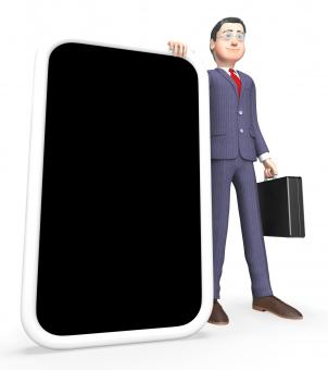 Free Stock Photo of Smartphone Businessman Shows World Wide Web And Mobile 3d Rendering