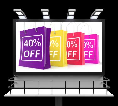 Free Stock Photo of Forty Percent Off Shopping Bags Shows Reduction