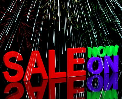 Free Stock Photo of Sale Now On And Fireworks Showing Discounts And Reductions