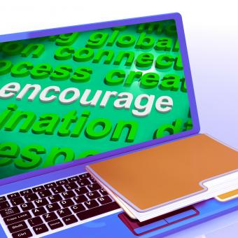 Free Stock Photo of Encourage Word Cloud Laptop Shows Promote Boost Encouraged