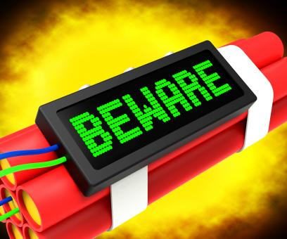 Free Stock Photo of Beware Dynamite Sign Means Caution Or Warning