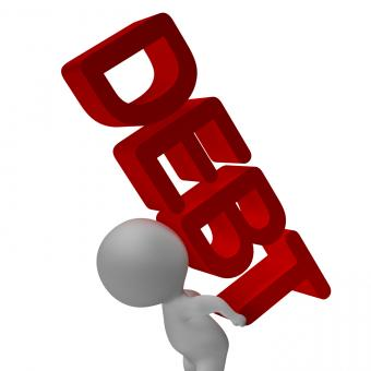 Free Stock Photo of Debt Word And 3d Character Shows Bankruptcy And Poverty