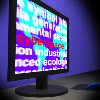 Free Stock Photo of Cyberspace On Monitor Shows Online Technology