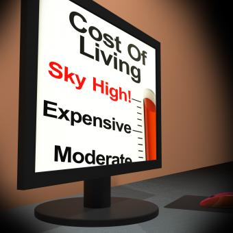 Free Stock Photo of Cost Of Living On Monitor Showing Budget