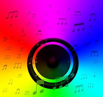 Free Stock Photo of Speaker And Musical Notes Shows Music Disco Or Concert