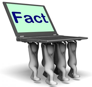 Free Stock Photo of Fact Characters Laptop Shows Truth Facts And Knowledge