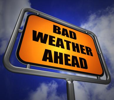 Free Stock Photo of Bad Weather Ahead Signpost Shows Dangerous Prediction