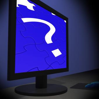 Free Stock Photo of Question Mark On Monitor Shows Confusion
