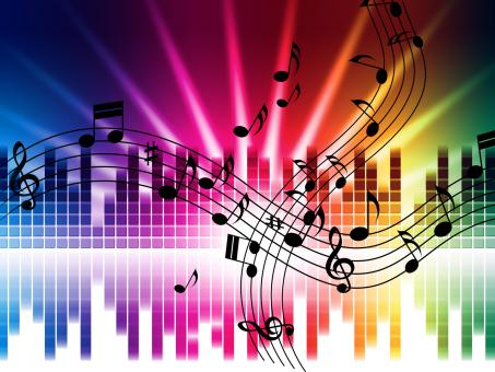 Free Stock Photo of Music Colors Background Means Singing Playing Or Disco