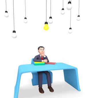 Free Stock Photo of Businessman Lightbulbs Shows Power Sources And Concept 3d Rendering