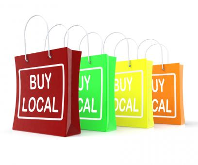 Free Stock Photo of Buy Local Shopping Bags Shows Buying Nearby Trade