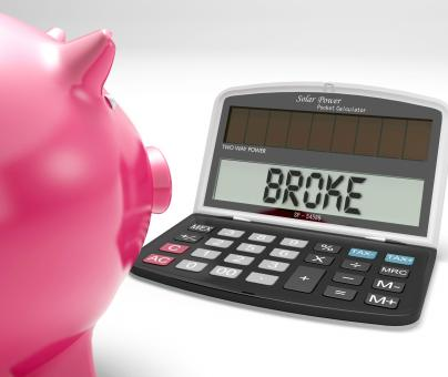 Free Stock Photo of Broke Calculator Shows Financial Problem And Poverty