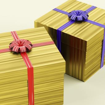Free Stock Photo of Gold Gift Boxes With Ribbon As Birthday Present