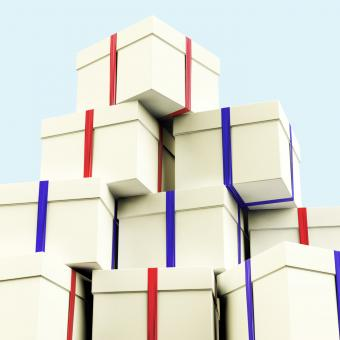 Free Stock Photo of Stack Of Giftboxes With Sky Background As Presents For The Family