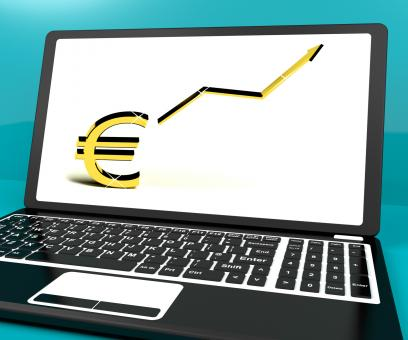 Free Stock Photo of Euro Sign And Up Arrow On Computer For Earnings Or Profit