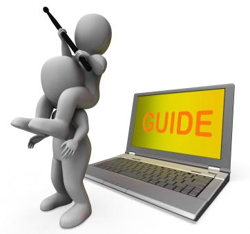 Free Stock Photo of Guide Characters Laptop Shows Guiding Assistance Or Assist