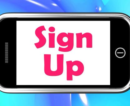 Free Stock Photo of Sign Up On Phone Shows Register Online