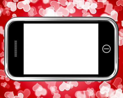 Free Stock Photo of Blank Mobile Phone Screen With Hearts Background